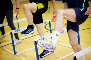 Running drills using hurdles